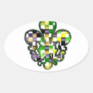 Fleur De Lis Flor  New Orleans Mardi Gras Oval Sticker