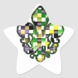 Fleur De Lis Flor  New Orleans Mardi Gras Star Sticker
