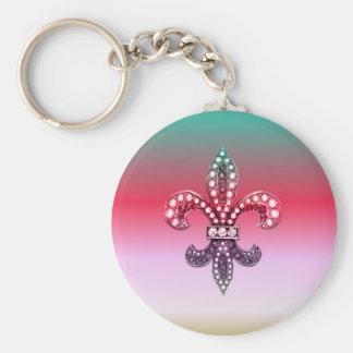 Fleur De Lis Flor  New Orleans Multi Color Pink Basic Round Button Keychain