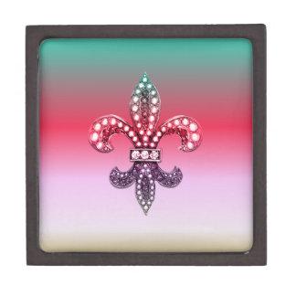 Fleur De Lis Flor  New Orleans Multi Color Pink Jewelry Box