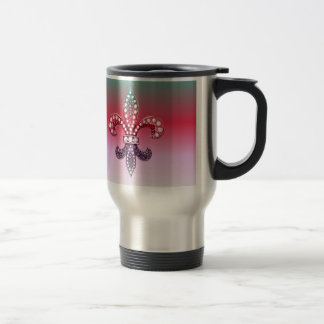 Fleur De Lis Flor  New Orleans Multi Color Pink Travel Mug