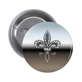 Fleur De Lis Flor  New Orleans Silver Black 2 Inch Round Button