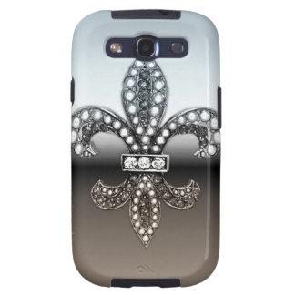 Fleur De Lis Flor  New Orleans Silver Black Samsung Galaxy SIII Covers