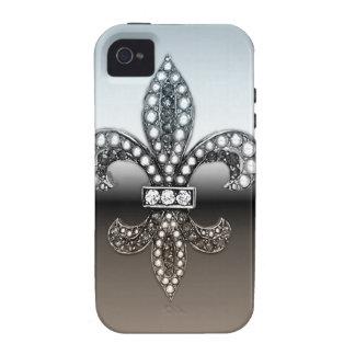 Fleur De Lis Flor  New Orleans Silver Black iPhone 4/4S Case