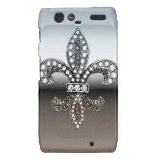 Fleur De Lis Flor  New Orleans Silver Black Droid RAZR Cases
