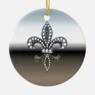 Fleur De Lis Flor  New Orleans Silver Black Double-Sided Ceramic Round Christmas Ornament
