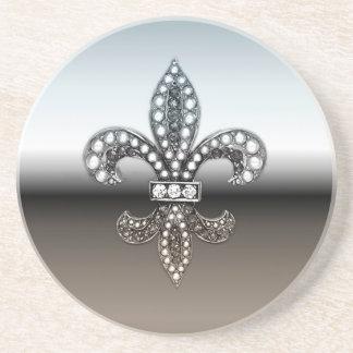 Fleur De Lis Flor  New Orleans Silver Black Drink Coaster