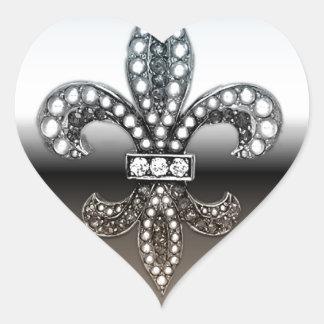 Fleur De Lis Flor  New Orleans Silver Black Heart Sticker