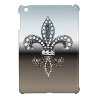 Fleur De Lis Flor  New Orleans Silver Black iPad Mini Case
