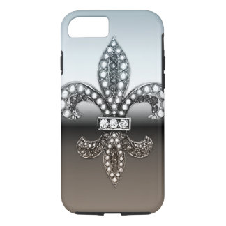 Fleur De Lis Flor New Orleans Silver Black iPhone 7 Case