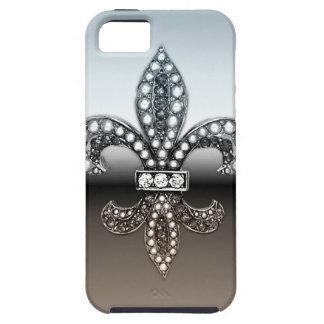 Fleur De Lis Flor  New Orleans Silver Black iPhone SE/5/5s Case