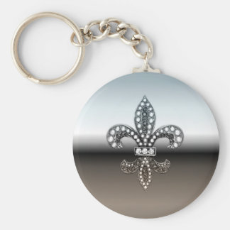 Fleur De Lis Flor  New Orleans Silver Black Basic Round Button Keychain