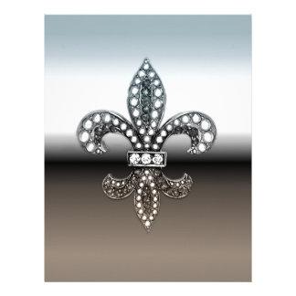 Fleur De Lis Flor  New Orleans Silver Black Letterhead