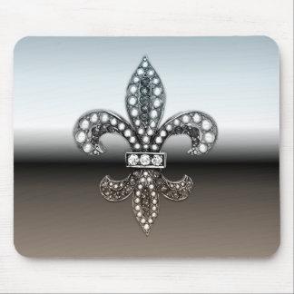 Fleur De Lis Flor New Orleans Silver Black Mousepads