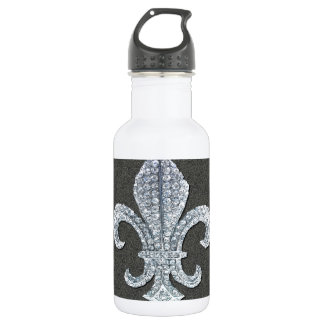 Fleur De Lis Flor  New Orleans Stone Jewel Stainless Steel Water Bottle