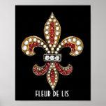 Fleur De Lis Flor Symbol  Brown New Orleans Poster