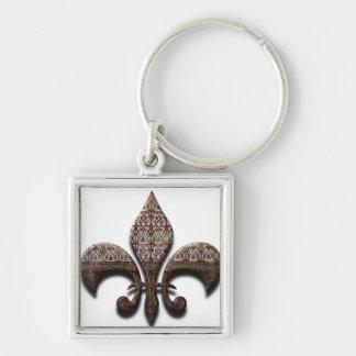 Fleur De Lis Flor Symbol Logo Brown New Orleans Silver-Colored Square Keychain