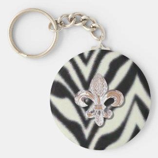 Fleur De Lis Flor  Zebra Print Basic Round Button Keychain