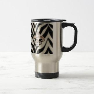 Fleur De Lis Flor  Zebra Print Travel Mug