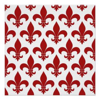 Fleur de lis French Pattern Parisian Design Perfect Poster