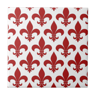 Fleur de lis French Red Ceramic Tile