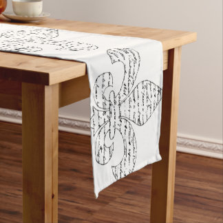 Fleur De Lis French Script Short Table Runner