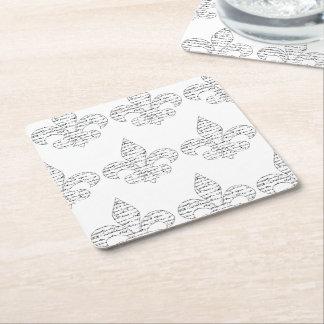 Fleur de Lis French Script Square Paper Coaster