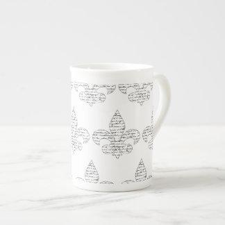 Fleur de Lis French Script Tea Cup