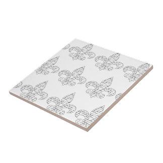 Fleur de Lis French Script Tile