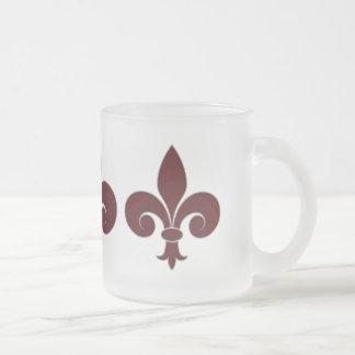 Fleur-De-Lis Frosted Glass Mug