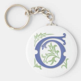 Fleur-de-lis G Monogram Basic Round Button Keychain