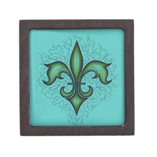 Fleur De Lis Gift Box, Teal Premium Keepsake Box