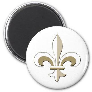 Fleur de lis - Gold 2 Inch Round Magnet