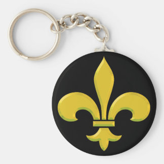 fleur-de-lis Gold Bevel Key Chains