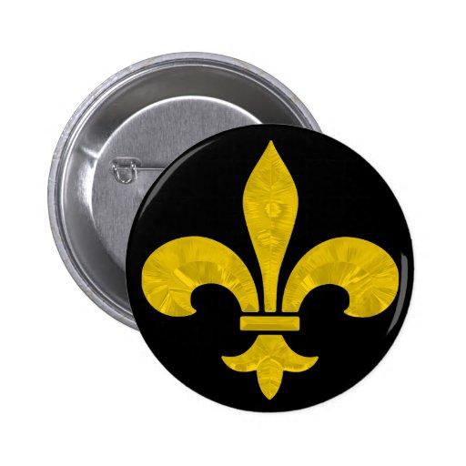 Fleur De Lis Gold Leaf Cut 2 Inch Round Button