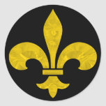Fleur De Lis Gold Leaf Cut Classic Round Sticker