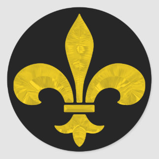 Fleur De Lis Gold Leaf Cut Classic Round Sticker