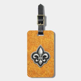 Fleur de Lis Gold Leather Look Bag Tag