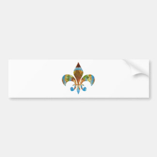 Fleur de Lis :  Gold n Silver Engraved Bumper Sticker