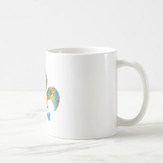 Fleur de Lis :  Gold n Silver Engraved Classic White Coffee Mug