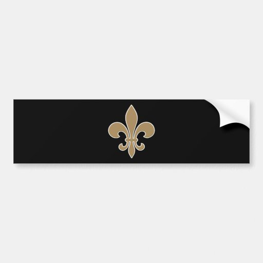Fleur de Lis Gold with White and Black Outline Bumper Stickers