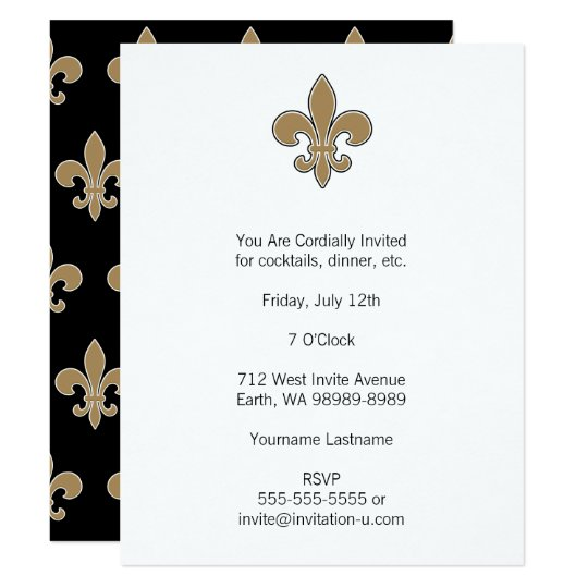 Fleur de Lis Gold with White and Black Outline Card