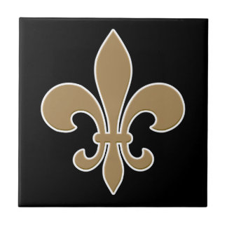 Fleur de Lis Gold with White and Black Outline Ceramic Tile