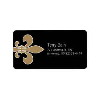 Fleur de Lis Gold with White and Black Outline Label