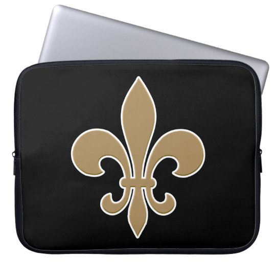 Fleur de Lis Gold with White and Black Outline Laptop Sleeve