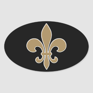 Fleur de Lis Gold with White and Black Outline Oval Sticker