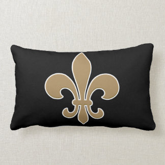 Fleur de Lis Gold with White and Black Outline Throw Pillow