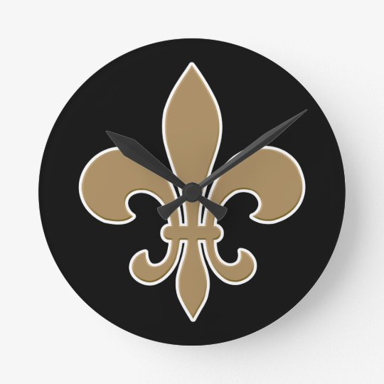 Fleur de Lis Gold with White and Black Outline Round Clock