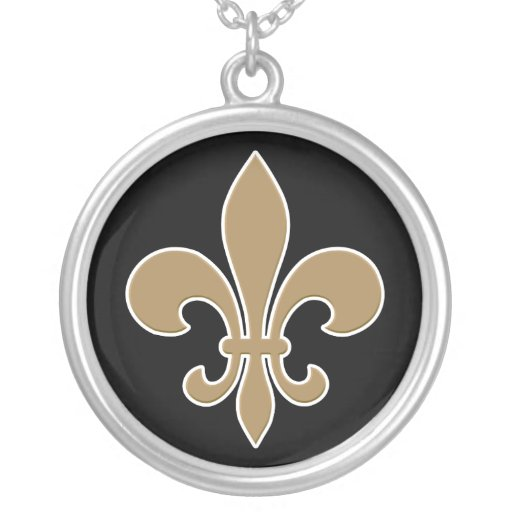 Fleur de Lis Gold with White and Black Outline Round Pendant Necklace