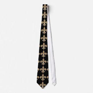 Fleur de Lis Gold with White and Black Outline Tie